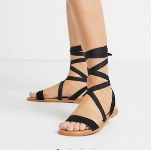 ASOS DESIGN Finland Tie Leg Flat Sandals Black